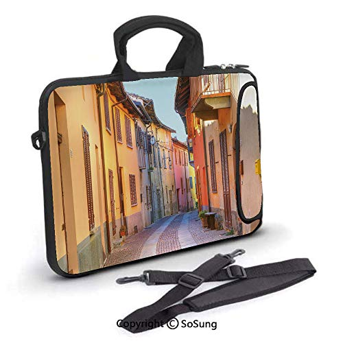 - 14 inch Laptop Case,Narrow Paves Street Among Old Houses in Town Serralunga DAlba Piedmont Decorative Neoprene Laptop Shoulder Bag Sleeve Case with Handle and Carrying & External Side Pocket,for Netbo