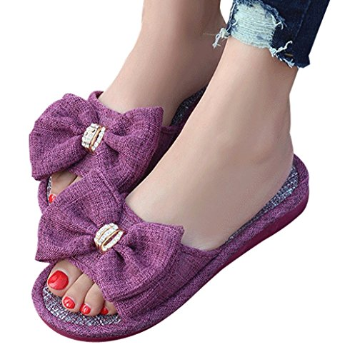 Cattior Womens Big Bow House Slippers Ladies Slippers Open Toe Purple UIZrp
