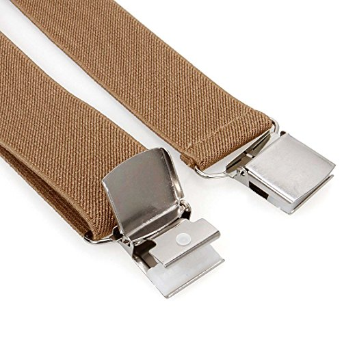 Bundle Monster 4pc Solid Colored Design X-Back Adjustable Clip Unisex Suspender by Bundle Monster (Image #7)