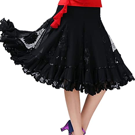 Falda de Baile Latino para Dama, Vestido Elegante para Damas con ...