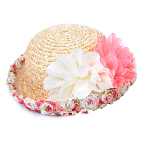 YQ Baby Girl's Summer Straw Beach Sunhats Size XS Natural Color