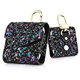 KuToo Replacement for AirPods Case, Magnetic Closure Leather Cover with Anti-Lost Keychain Glitter Bling Sparkle Leather Sleeve Skins Case for Apple AirPods Wireless Earphone (3D Glitter Black)