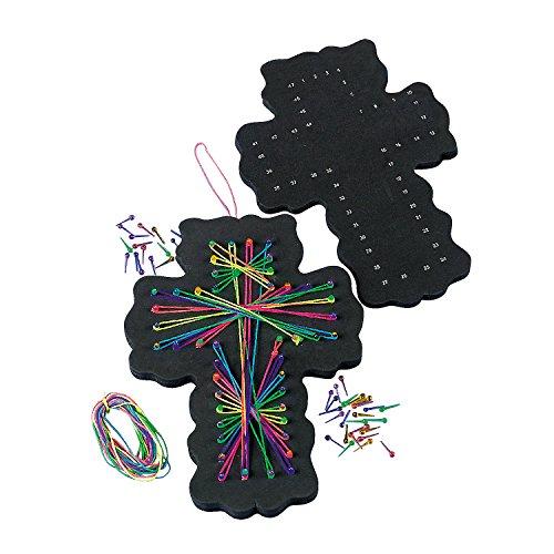 Fun Express - Cross String Art Craft Kit - Craft Kits - Hanging Decor Craft Kits - Sign Decoration Craft Kits - 12 Pieces