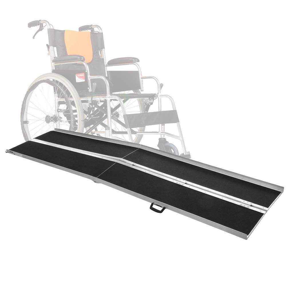 10ft Aluminum Multifold Wheelchair Ramp Portable Non-Skid Multifold Loading Mobility Scooter Ramps Lightweight Disabled Handicap Threshold With Carrying Handle