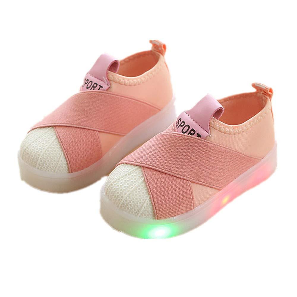edv0d2v266 Autumn Toddler Sport Running Baby Shoes Boys Girls LED Luminous Shoes Sneakers (Pink 27/10MUSToddler)