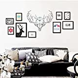 Photo frame wall Nordic deer head wood photo wall clock combination American modern minimalist living room creative photo frame wall Photo Wall ( Size : 8box )