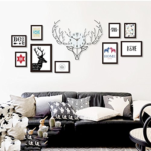 Photo frame wall Nordic deer head wood photo wall clock combination American modern minimalist living room creative photo frame wall Photo Wall ( Size : 8box ) by Photo Frame Set