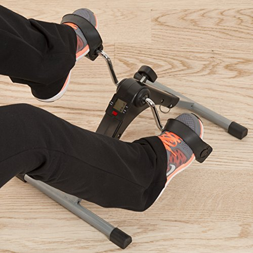 Portable Folding Fitness Pedal Stationary Under Desk Indoor Exercise Bike for Arms, Legs, Physical Therapy with Calorie Counter by Wakeman