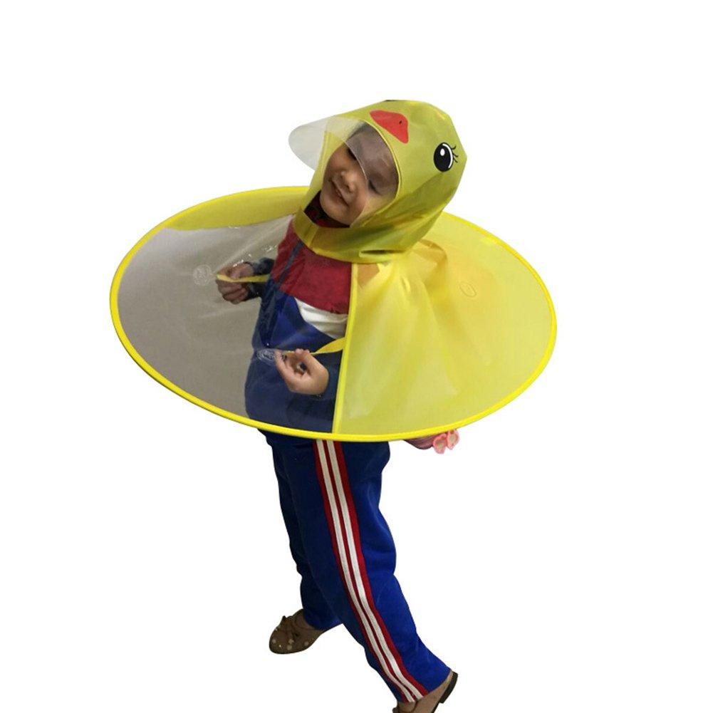 M Blue Duck yanQxIzbiu Cute Cartoon Duck Children Raincoat Umbrella UFO Shape Rain Hat Cape Foldable