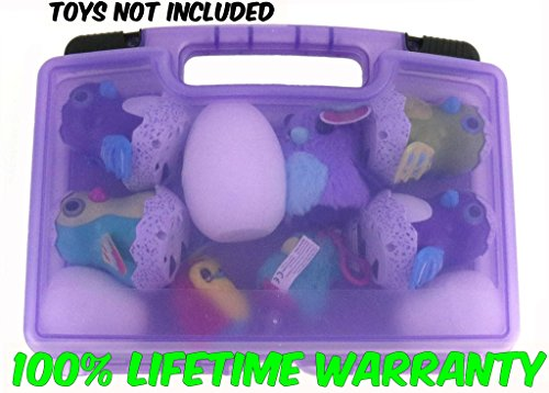 My Egg Crate Storage Organizer By Life Made Better-Compatible With Hatchimals Surprise & Hatchimals Glittering Garden Brands- Durable Carrying Case For Mini Egg Toy, Easter Eggs & Speckled Eggs-Purple Garden Tile Box