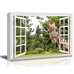 Canvas Print Wall Art – Window Frame Style Wall Decor – A Curious Giraffe Sticking Its Head into an Open Window | Giclee Print Gallery Wrap Modern Home Decor. Stretched & Ready to Hang – 24″ x 36″