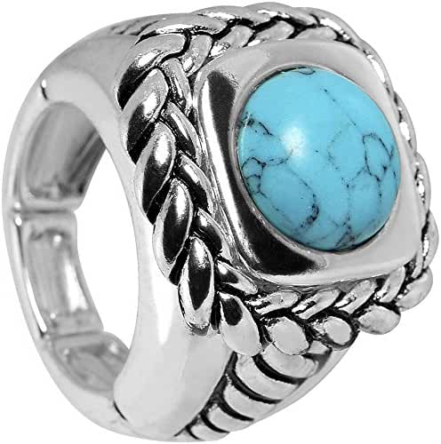 Light Blue Woven Rope Stretch Ring