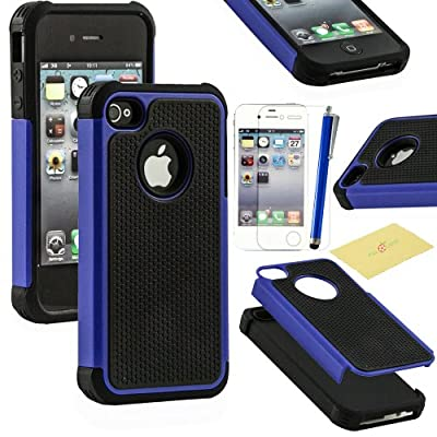 Fulland Deluxe Hybrid TUFF Rugged Shockproof Rubber + Hard Case Cover For Apple iPhone 4 4s Plus Stylus Pen and Screen Protector from Fulland