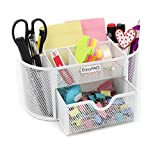 EasyPAG School / Office Desk Accessories Organizer 9 Components Desktop Supplies Caddy with Drawer,White