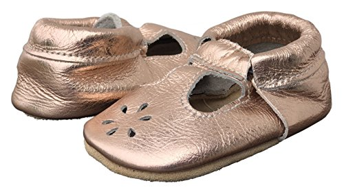 Lucky Love Baby & Toddler Soft Sole Prewalker Skid Resistant Boys & Girls Shoes (6-12 Months, T-Strap Rose Gold) by Lucky Love (Image #8)