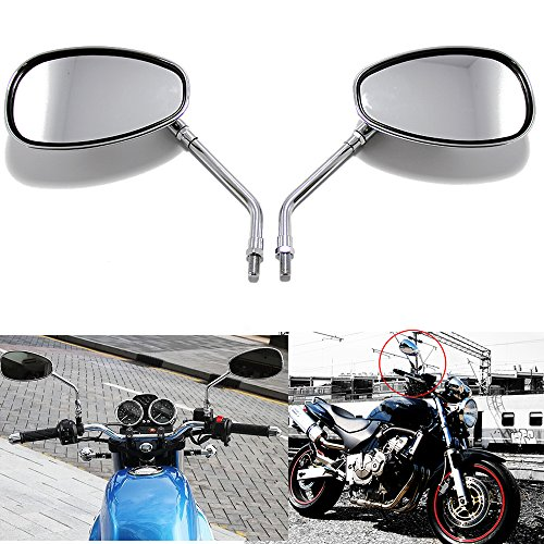 Suzuki Mirror (10MM Chrome Motorcycle Handlebar Rearview Side Mirrors For Honda Kawasaki Suzuki Cruiser Scooter)