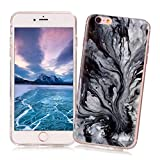 iPhone 5/5S/SE Case XiaoXiMi Marble Texture Cover Soft Flexible TPU Silicone Shell Ultra Slim Lightweight Phone Skin Protective Back Cover Antiscratch Antishock Bumper for iPhone 5/5S/SE - Black Lava