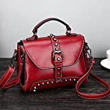 LtrottedJ Retro Women's Rivets Leather Shoulder Bags With Corssbody Bag&Handbag (Red)