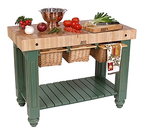 American Heritage Kitchen Island with Butcher Block Top Base Finish: Useful Gray ()