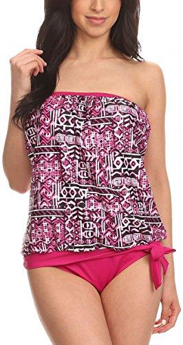 ToBeInStyle Women's White and Pink Ethnic Bandeau Blouson Tie Tankini - 16