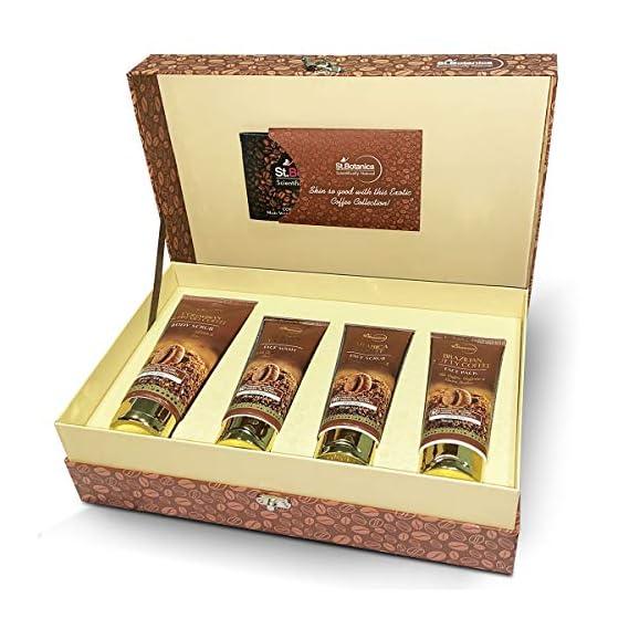StBotanica Vaani Kapoor's Exclusive Coffee Skin Care Gift Kit | Body Scrub, Face Wash, Face Scrub, Face Mask | No SLS, Parabens