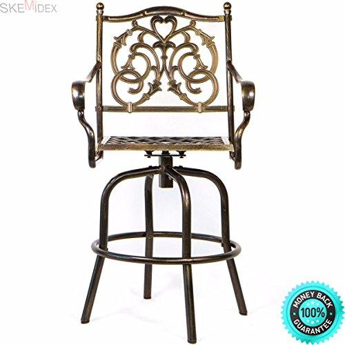 Cheap  SKEMiDEX---Outdoor Cast Aluminum Swivel Bar stool Patio Furniture Antique Copper Design new..