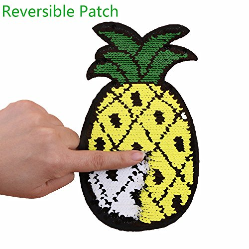 HOODS 1PC Pineapple Reversible Change Color Sequin Sewing on Patches Clothes DIY Embroidered Motif Applique Craft Perfect for Jeans, T-shirts