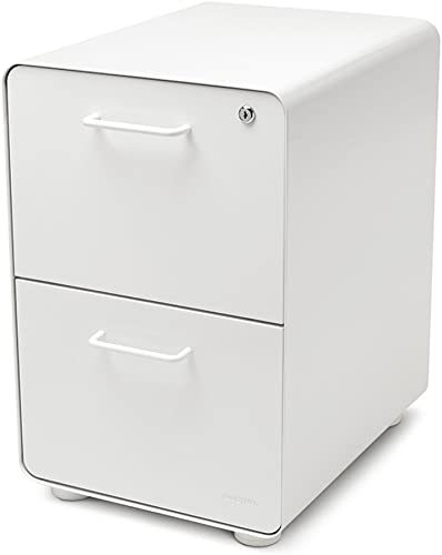 Poppin White Stow 2-Drawer File Cabinet, Metal, Legal Letter