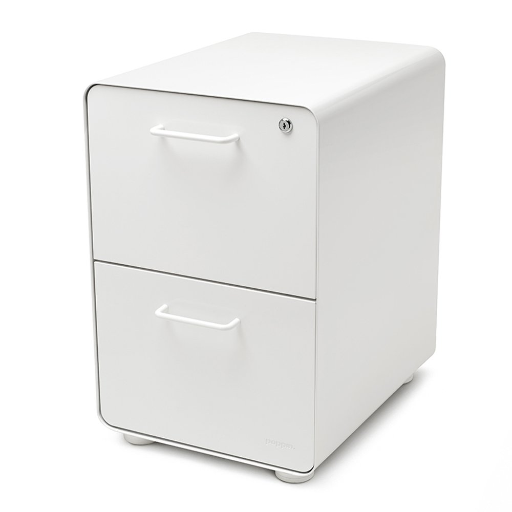 Poppin White Stow 2-Drawer File Cabinet, Metal, Legal/Letter by Poppin