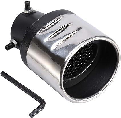 Auspuffrohr Edelstahl Endrohr Qiilu Auspuff Auspuffendrohr Gebogen Mit Netz Weniger Als 57mm Universal Schwarze Und Silberne Farbe Auto