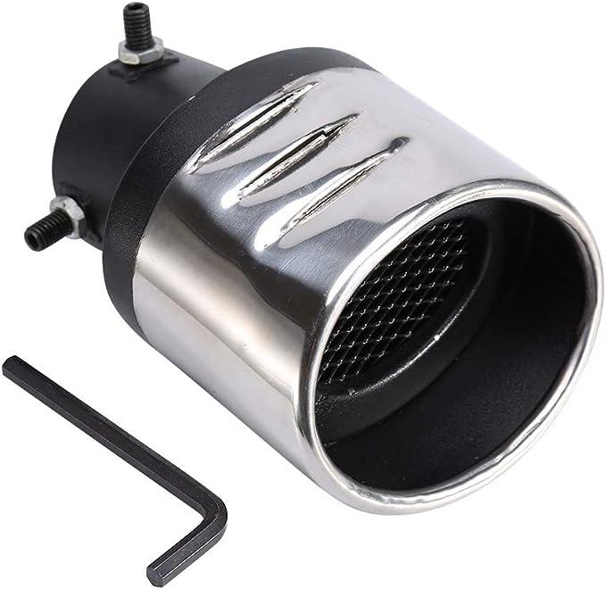 Tubo de escape de coche Qiilu Tubo de Cola del Coche oblicuo con una red de menos de 57 mm negro y plateado universal