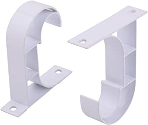 uxcell Window Drapery Ceiling Hanging Holder Wall Curtain Rod Bracket Set of 2, Fits 1 inches Rod