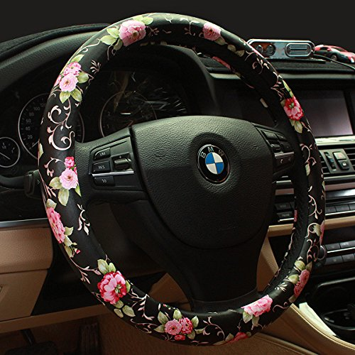 - Limited - Binsheo PU Leather Floral Auto Car Steering Wheel Cover,for Women Girls Ladies,Anti Slip Non-toxic Universal 15 Inch, Chinese Style,Black with Red Flowers