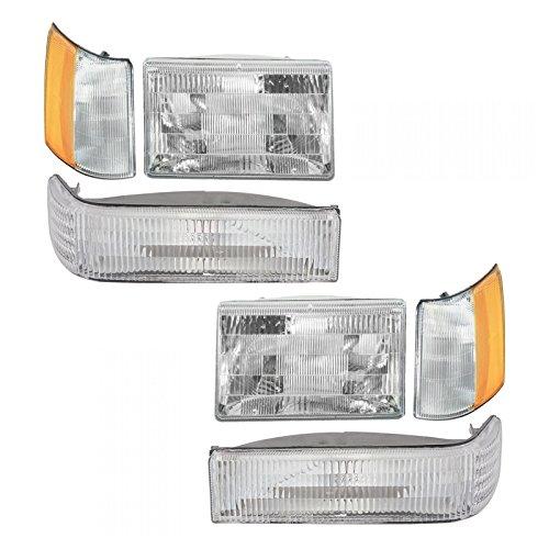Headlights & Parking Corner Lights Left & Right Kit Set for 97-98 Grand Cherokee ()