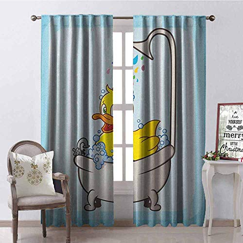 - GloriaJohnson Duck Shading Insulated Curtain Cartoon Character Taking a Bath Colorful Drops Blue Backdrop with Dots Kids Nursery Soundproof Shade W52 x L84 Inch Multicolor