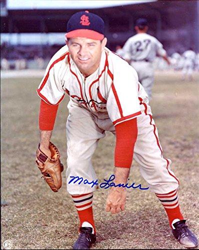 (Max Lanier (D. 2007) Autographed/ Original Signed 8x10 Color Glossy Photo Showing Him w/ the St. Louis Cardinals)