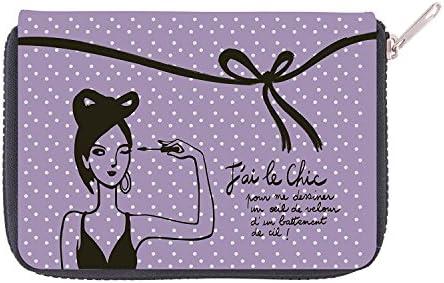 Derrière la porte – Estuche para guardar las brochas de maquillaje con inscripción en francés «Jai le chic - pour me dessiner un œil de velours dun battement de cil!» (Estoy elegante -