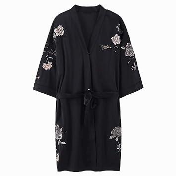 Pijamas negro camisón de las señoras de seda de verano pijamas de satén bordado tentación sexy ...