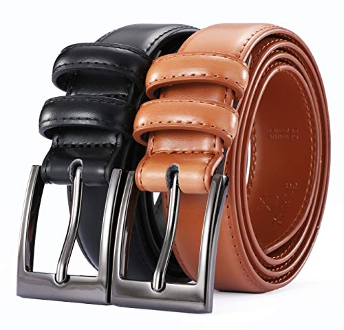 (XHtang Men Genuine Leather Dress Belt with Single Prong Buckle)