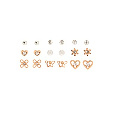 1f4a44a99727d Claire's Girl's 9 Pack Rose Gold Tone Stud Earrings in Rose Gold ...