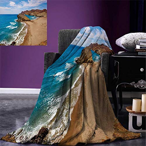 smallbeefly Landscape Super Soft Lightweight Blanket Ocean View Tranquil Beach Cabo De Gata Spain Coastal Photo Scenic Summer Scenery Oversized Travel Throw Cover Blanket 90''x70'' Blue Brown by smallbeefly