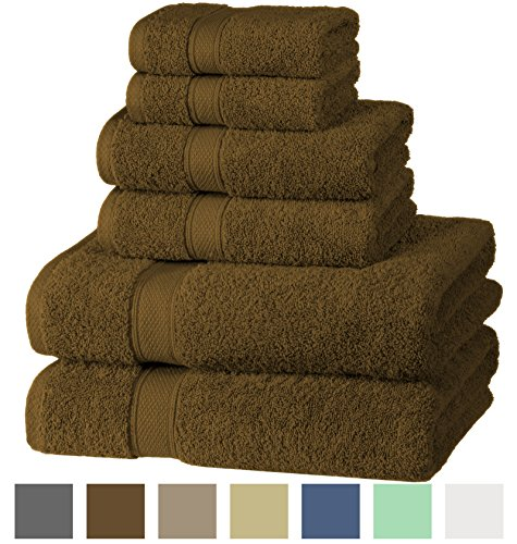 Hotel & Spa Quality Super Absorbent and Soft, 100% Cotton 600 GSM, 6 Piece Turkish Towel Set for Kitchen and Decorative Bathroom Sets Includes 2 Bath Towels 2 Hand Towels 2 Washcloths, Chocolate Brown