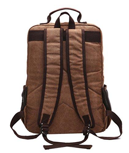 Super moderno vintage lienzo mochila mochila para portátil/escuela/senderismo/al aire libre Casual daypacks Colegio Bolsa, Bolsa de ordenador portátil bolsa de oso, hombre, café café