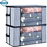quilt fabric organizer - Seckon Large Underbed Storage Container Bags Organizer[2Pack] Breathable Non-Woven Fabric Comforters Quilt Blankets Storage Space Saver Bag Room Closet with Transparent Windows and Reinforced Handles