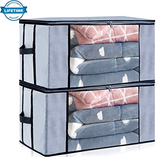 Seckon Large Storage Container Bags Organizer[2Pack] Breathable Non-Woven Fabric Comforters Quilt Blankets Storage Space Saver Bag Room Closet with Transparent Windows and Reinforced Handles