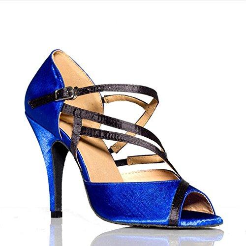 Talon B Blue Bal Latins Stilettos Femmes De amp; Salle Souliers Pour Party Evening Danse Fancy chaussures Chaussures Salsa Sandales vx8wUTq