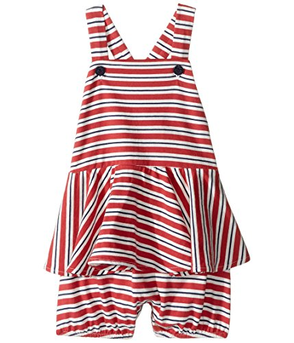 Ralph Lauren Baby Girls Striped Cotton Peplum Shortall Navy/Red/White Multi (6 Months) (Striped Shortall White)