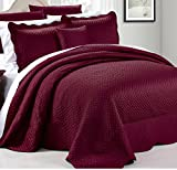 4 Piece Luxurious Burgundy Red Queen Bedspread Set, Geometric Themed Bedding Satin Stylish Modern Trendy Pretty Classic Elegant Satin Silky French Country Warm Scalloped Solid, Polyester
