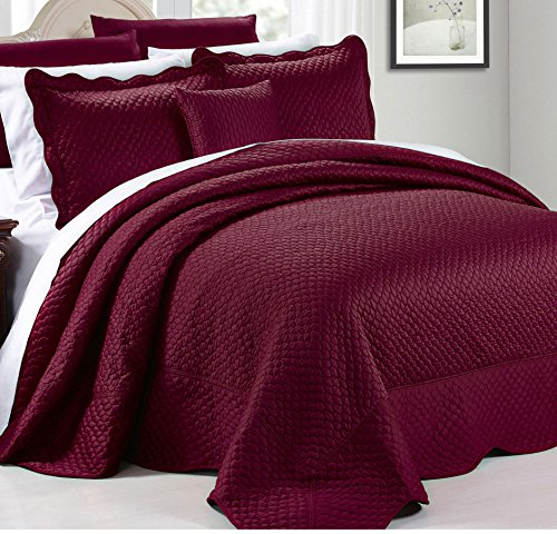 4 Piece Luxurious Burgundy Red Queen Bedspread Set, Geometric Themed Bedding Satin Stylish Modern Trendy Pretty Classic Elegant Satin Silky French Country Warm Scalloped Solid, Polyester by AD