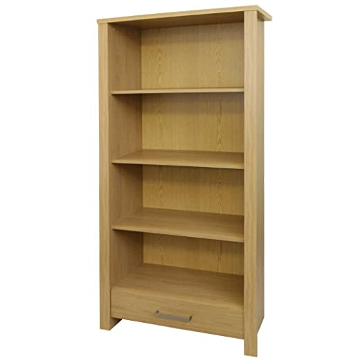 Bailey Display Cabinet / Bookcase With Drawer   Oak Wood Effect   Flat Pack Living  Room Part 54